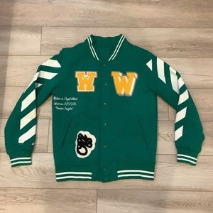 Off-White Letterman Varsity Jacket (Green)